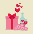 valentine present gift and love potion with vector image