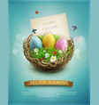 vintage easter eggs in a wicker nest green grass vector image vector image
