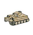world war two panzer tank retro vector image