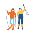 young couple or pair of friends skiing together vector image vector image