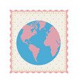 frame with silhouette of world map with background vector image