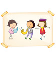 A frame with three adorable kids vector image