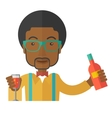 African bartender at the bar holding a drinks vector image
