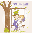 bride and groom - save date wedding card vector image vector image