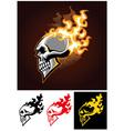 burning skull vector image vector image
