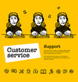 call center concept customer service chat web vector image vector image