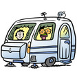 cartoon of a boy in the caravan ready for the vector image vector image