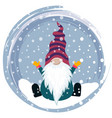 christmas card with gnome vector image vector image