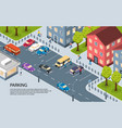 city parking isometric poster vector image