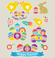 color easter stickers with eggs rabbit and vector image