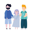 family father grandma and son together cartoon vector image vector image