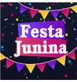 festa junina colorful ribbon flags black backgroun vector image