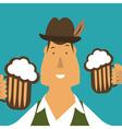 Flat of german men with beer vector image
