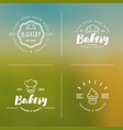 four styles of bakery logo with thin line icons vector image vector image