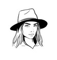 girl with hat black and white vector image vector image