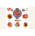 grill with hot coals kitchen utensils for cooking vector image