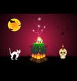 halloween witch cauldron skull spider cat bat moon vector image vector image