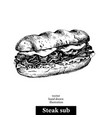 hand drawn sketch steak sub sandwich black and vector image