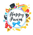 happy purim celebration card vector image