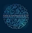 heartbreak round blue outline vector image vector image