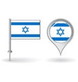 Israeli pin icon and map pointer flag vector image