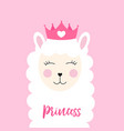 little princess cute llama with heart for card an vector image vector image