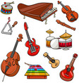 musical instruments cartoon set vector image