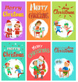 new year holidays merry christmas postcards set vector image vector image