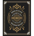 premium card baroque frame and floral details vector image vector image