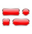 red glass buttons set 3d shiny icons vector image vector image