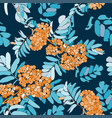 rowan seamless pattern with orange rowan berries vector image vector image
