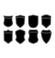set blank empty dark shields black badge vector image