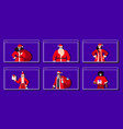 set mix race people in santa costumes wearing vector image vector image