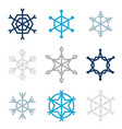 set of nine snowflakes vector image vector image