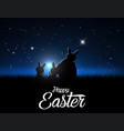 silhouettes easter bunnies against a moonlight vector image
