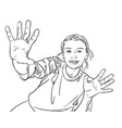sketch of happy girl shows her open palms vector image