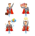 Superhero businessmen character icons set vector image vector image
