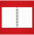 white blank paper two pages note book on red vector image
