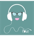 White headphones with cord Sunglasses and pink vector image vector image