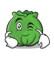 wink cabbage cartoon character style vector image vector image