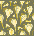 yellow spring crocus flowers seamless vector image vector image