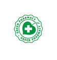 logo green pharmacy leaf cross vector image