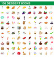 100 dessert icons set cartoon style vector image