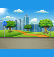a natural road views with an urban background vector image