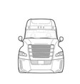 american trailer truck black and white sketch vector image vector image
