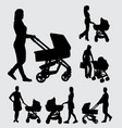 baby sitter male and female action silhouette vector image vector image