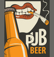 beer banner with bottle and smoking human mouth vector image