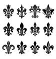 Black medieval royal fleur-de-lis symbols vector image vector image