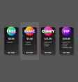 black pricing plan banners infographic vector image