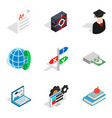 borrowed funds icons set isometric style vector image